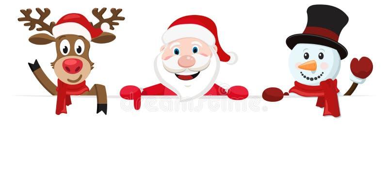 Άγιος Βασίλης, ένα ελάφι και ένας χιονάνθρωπος κοιτάζουν έξω από πίσω από ένα άσπρα φύλλο και ένα κύμα απεικόνιση αποθεμάτων