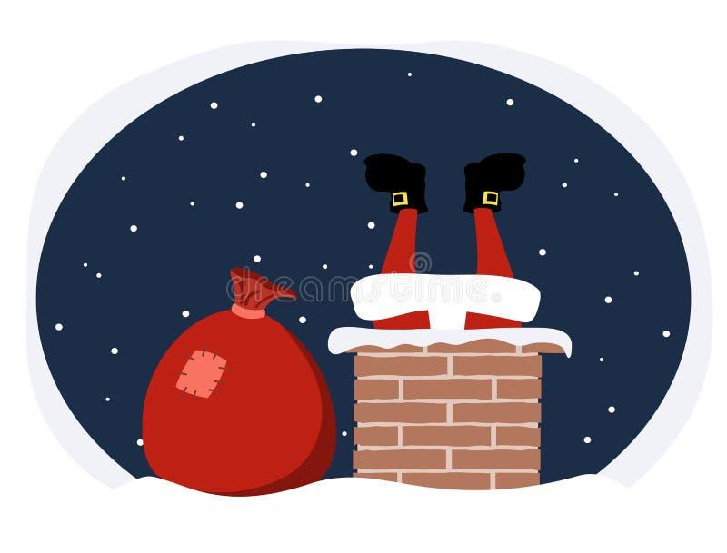 Άγιος Βασίλης αναρριχείται στο σωλήνα με τα δώρα ελεύθερη απεικόνιση δικαιώματος