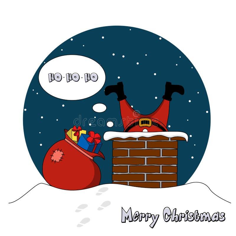 Άγιος Βασίλης αναρριχείται στο σωλήνα με τα δώρα διανυσματική απεικόνιση