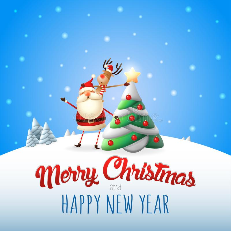 Άγιος Βασίλης και διακοσμημένο τάρανδος χριστουγεννιάτικο δέντρο - Χαρούμενα Χριστούγεννα και ευχετήρια κάρτα καλής χρονιάς ελεύθερη απεικόνιση δικαιώματος
