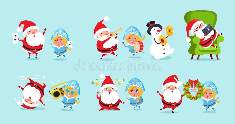 Άγιος Βασίλης και οι φίλοι του που έχουν τα εικονίδια διασκέδασης διανυσματική απεικόνιση