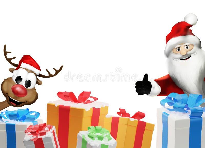 Άγιος Βασίλης και τάρανδος με έναν σωρό των χριστουγεννιάτικων δώρων με απεικόνιση αποθεμάτων