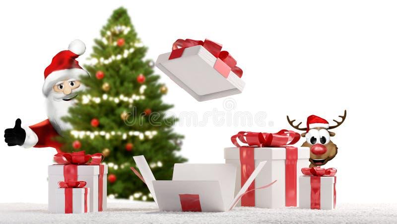 Άγιος Βασίλης και τάρανδος με την ανοιγμένη τρισδιάστατος-απεικόνιση δέντρων χριστουγεννιάτικου δώρου και έλατου διανυσματική απεικόνιση