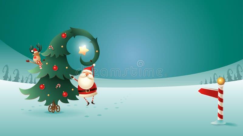 Άγιος Βασίλης και τάρανδος με το χριστουγεννιάτικο δέντρο στο χειμερινό τοπίο Σημάδι βόρειου πόλου διανυσματική απεικόνιση