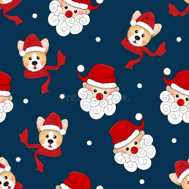 Άγιος Βασίλης και Corgi με το κόκκινο μαντίλι στο μπλε υπόβαθρο λουλακιού επίσης corel σύρετε το διάνυσμα απεικόνισης διανυσματική απεικόνιση