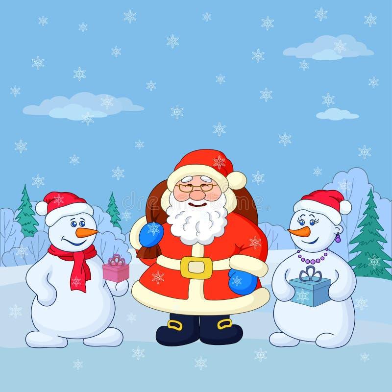 Άγιος Βασίλης και snowmans σε ένα χειμερινό δάσος ελεύθερη απεικόνιση δικαιώματος