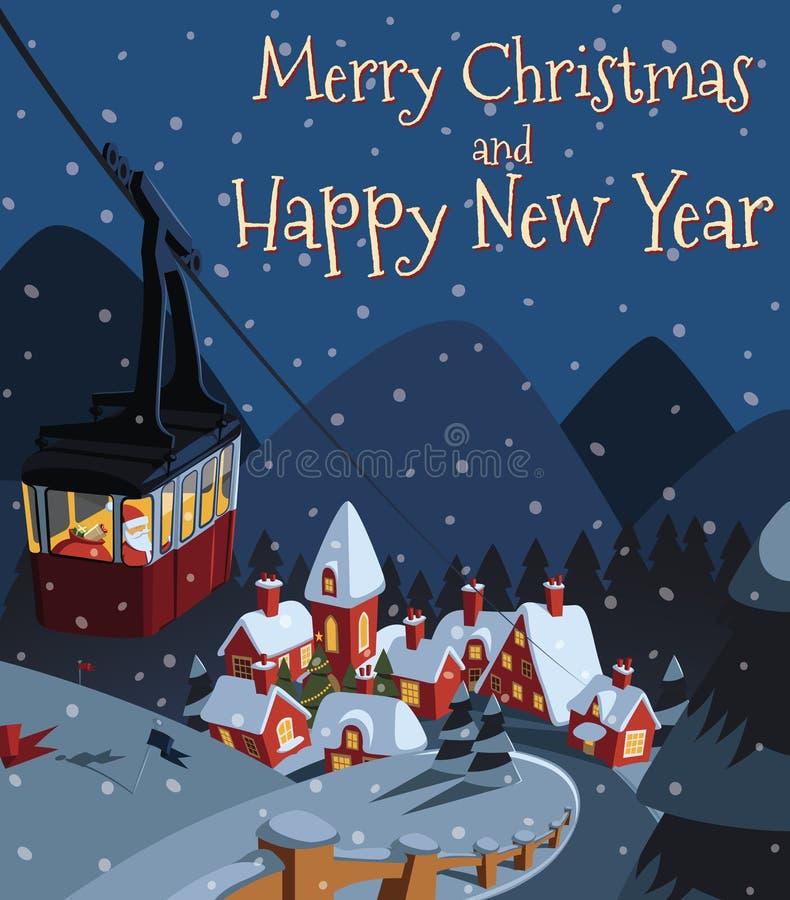 Άγιος Βασίλης κατεβαίνει στο χωριό κοιλάδων Χριστουγέννων στο τελεφερίκ ελεύθερη απεικόνιση δικαιώματος