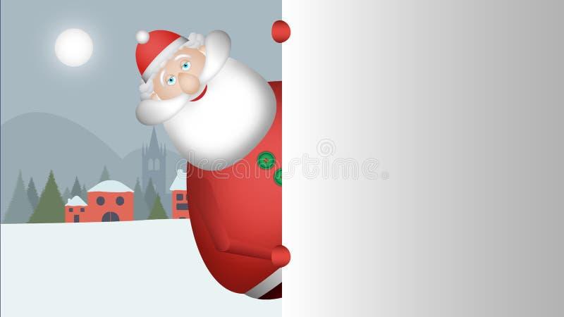Άγιος Βασίλης κοιτάζει έξω για να σας χαιρετήσει με το τεράστιο χαμόγελό του στοκ φωτογραφία