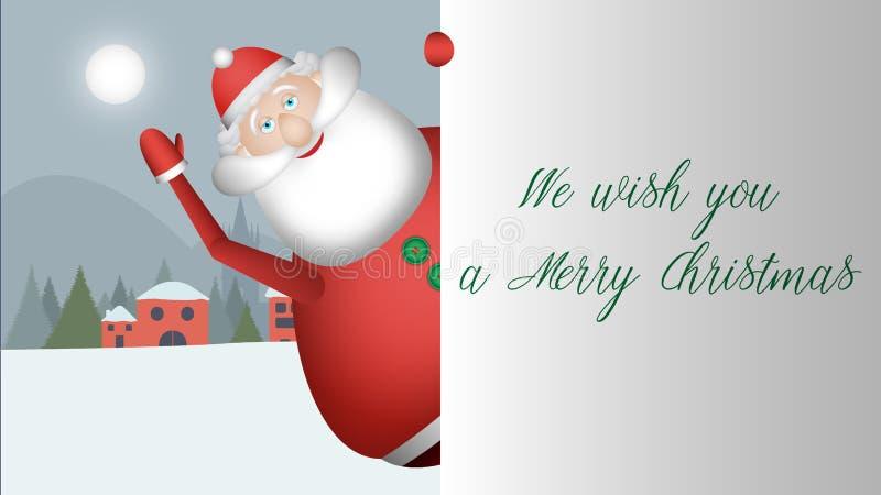 Άγιος Βασίλης κοιτάζει έξω και σας χαιρετά ένα τεράστιο χαμόγελο στοκ εικόνα με δικαίωμα ελεύθερης χρήσης