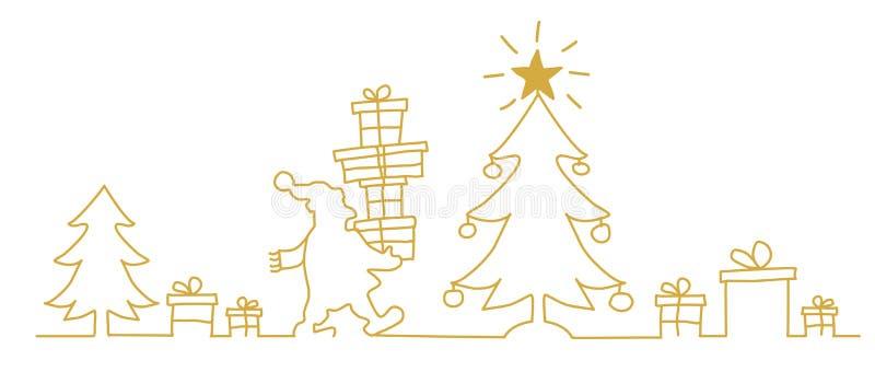 Άγιος Βασίλης κοντά στο χριστουγεννιάτικο δέντρο με το δώρο  διανυσματική απεικόνιση