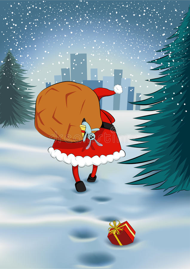 Άγιος Βασίλης με έναν σάκο διανυσματική απεικόνιση