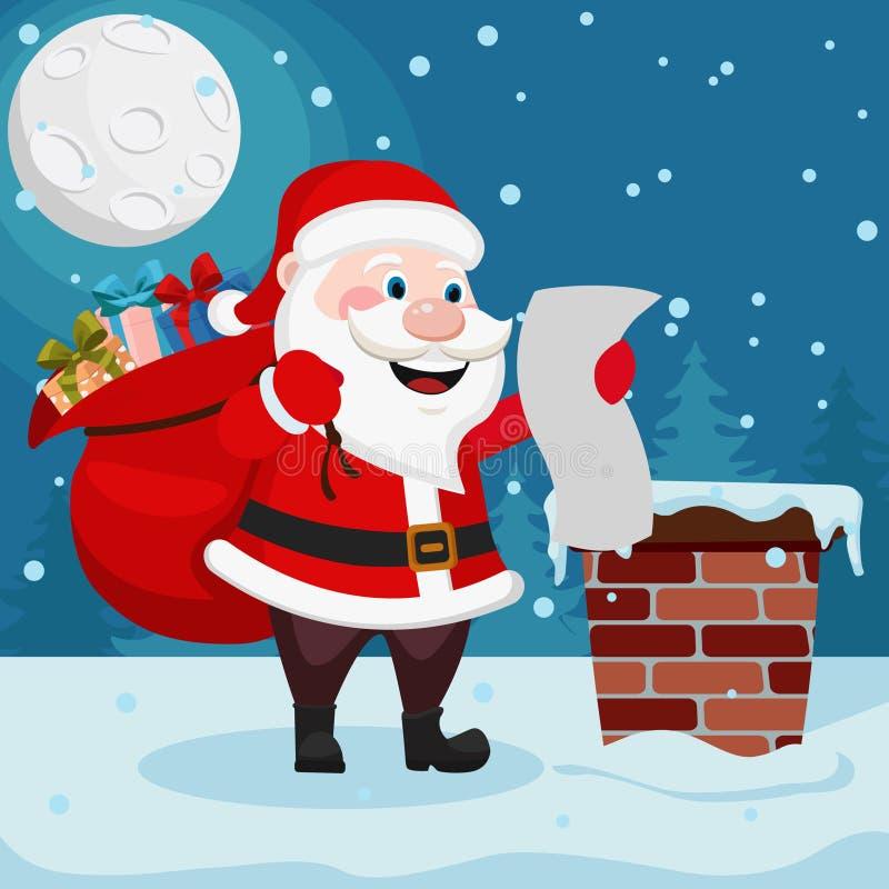 Άγιος Βασίλης με μια τσάντα των δώρων είναι στη στέγη και διαβάζει τον κατάλογο διανυσματική απεικόνιση