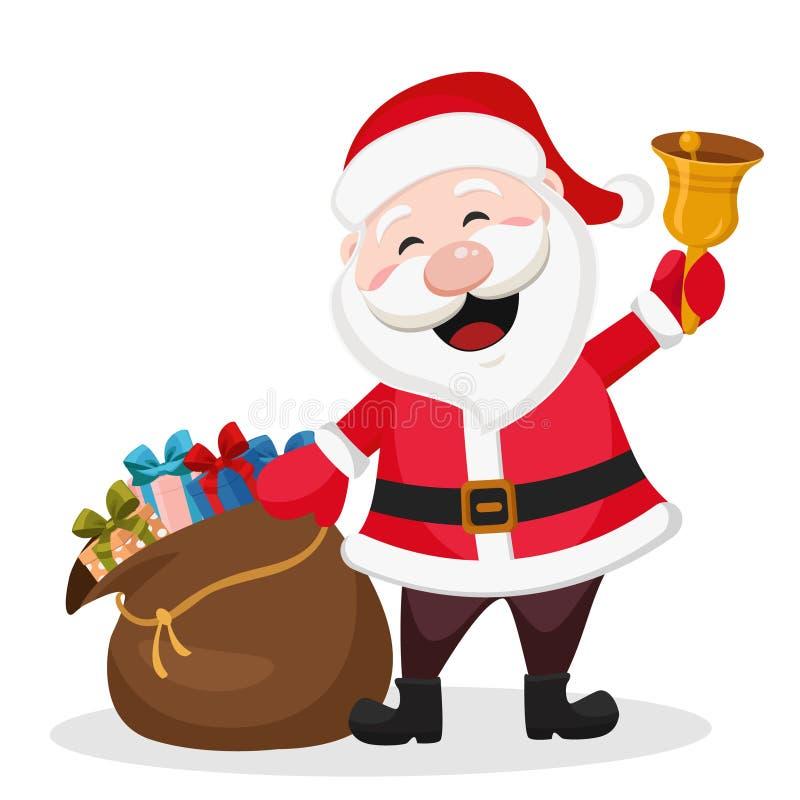 Άγιος Βασίλης με μια τσάντα των δώρων και ενός κουδουνιού απεικόνιση αποθεμάτων