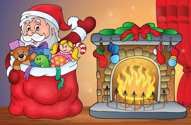 Άγιος Βασίλης με τα δώρα από την εστία διανυσματική απεικόνιση