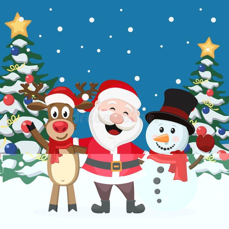 Άγιος Βασίλης με τα ελάφια και το χιονάνθρωπο στο υπόβαθρο χειμερινών τοπίων διανυσματική απεικόνιση