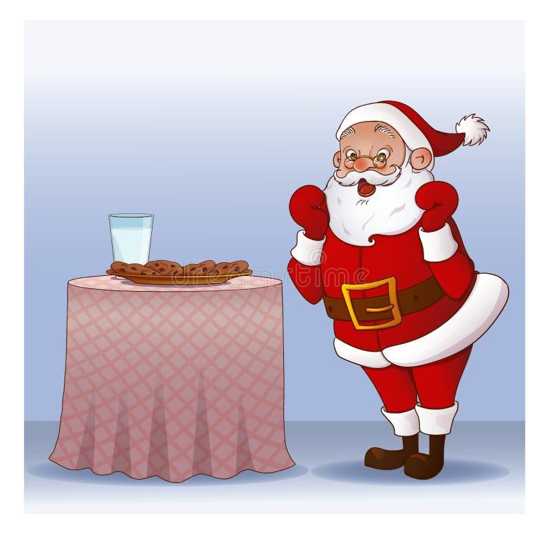 Άγιος Βασίλης με τα μπισκότα και το ποτήρι του γάλακτος ελεύθερη απεικόνιση δικαιώματος