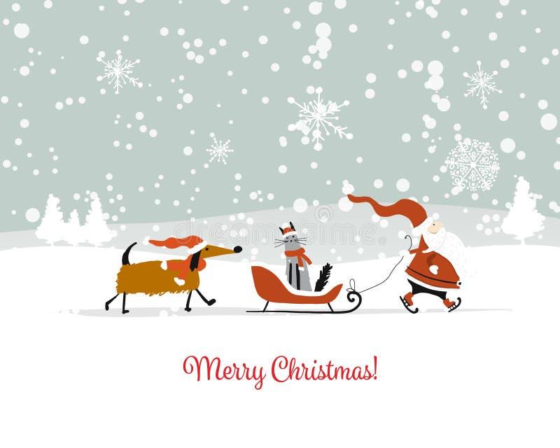 Άγιος Βασίλης με τη γάτα και το σκυλί ουρανός santa του Klaus παγετού Χριστουγέννων καρτών τσαντών διανυσματική απεικόνιση