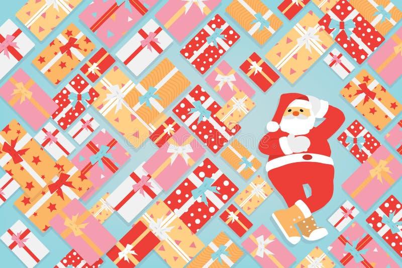 Άγιος Βασίλης με τη δέσμη του ζωηρόχρωμου κιβωτίου δώρων, της Χαρούμενα Χριστούγεννας και του διανύσματος καλής χρονιάς ελεύθερη απεικόνιση δικαιώματος