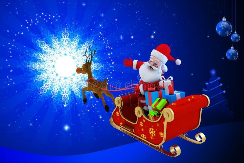 Άγιος Βασίλης με το έλκηθρό του Στοκ Φωτογραφία