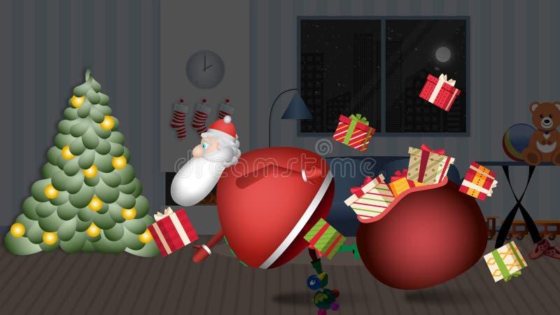 Άγιος Βασίλης μπαίνει στο σπίτι σας για να αφήσει το GIF UPS!! στοκ εικόνες
