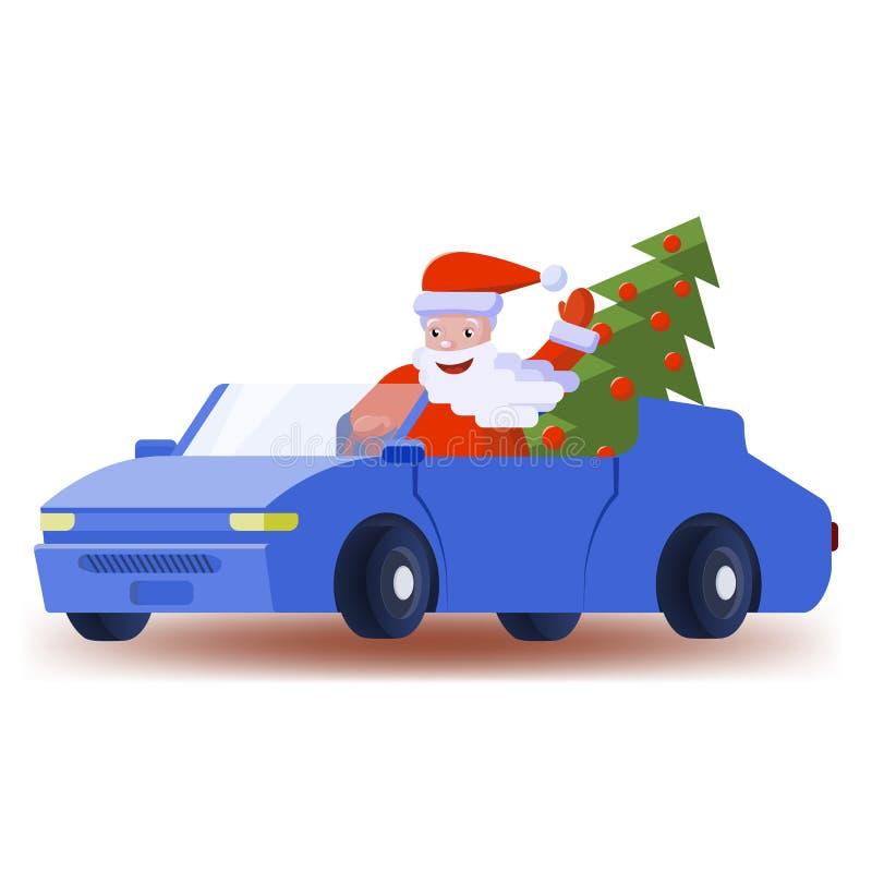 Άγιος Βασίλης οδηγεί ένα αυτοκίνητο με ένα κομψό χριστουγεννιάτικο δέντρο απεικόνιση αποθεμάτων
