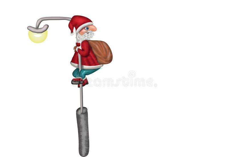 Άγιος Βασίλης που αναρριχείται σε έναν λαμπτήρα πόλεων διανυσματική απεικόνιση