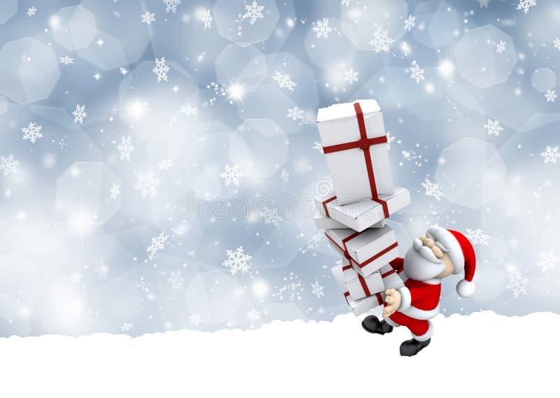 Άγιος Βασίλης που φέρνει μια στοίβα των δώρων Χριστουγέννων ελεύθερη απεικόνιση δικαιώματος