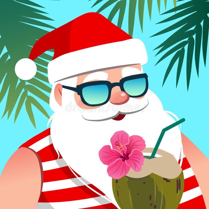 Άγιος Βασίλης που φορά τα γυαλιά ηλίου, με το ποτό καρύδων ενάντια στο tropi διανυσματική απεικόνιση