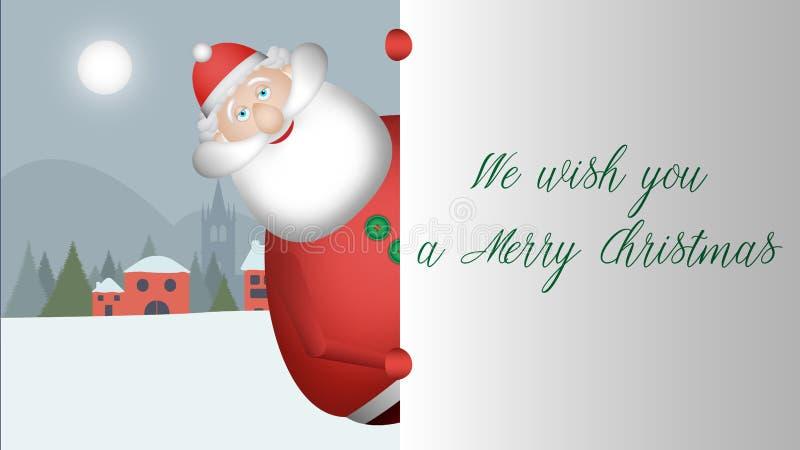 Άγιος Βασίλης σας πλησιάζει και κοιτάζει για να χαιρετήσει με το ευρύ χαμόγελό του στοκ εικόνα