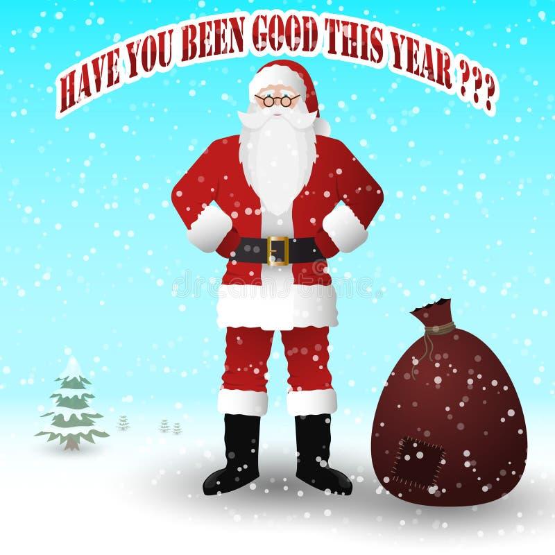 Άγιος Βασίλης σε ένα κόκκινο κοστούμι με μια τσάντα των δώρων Σας έχει όντας καλός φέτος απεικόνιση αποθεμάτων