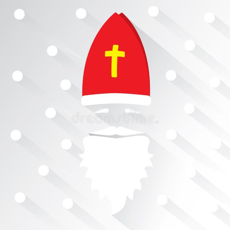 Άγιος Βασίλης στο άσπρο υπόβαθρο με τα σημεία ως snowflake και σκιά χαιρετισμός καλή χρονιά καρτών του 2007 Επίπεδη διανυσματική  στοκ εικόνες με δικαίωμα ελεύθερης χρήσης