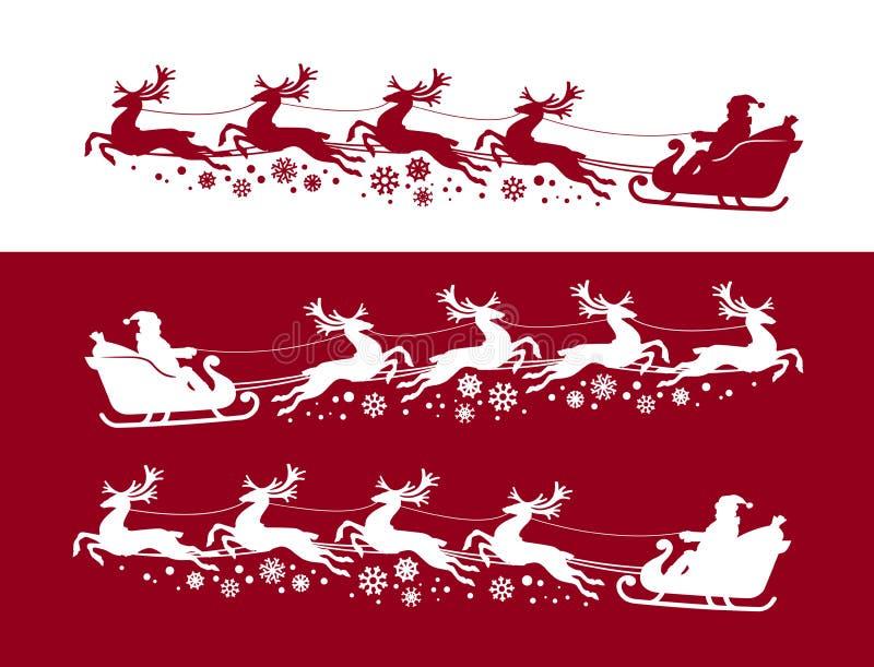Άγιος Βασίλης στο έλκηθρο με τον τάρανδο Χριστούγεννα, έννοια Χριστουγέννων Διανυσματική απεικόνιση σκιαγραφιών διανυσματική απεικόνιση