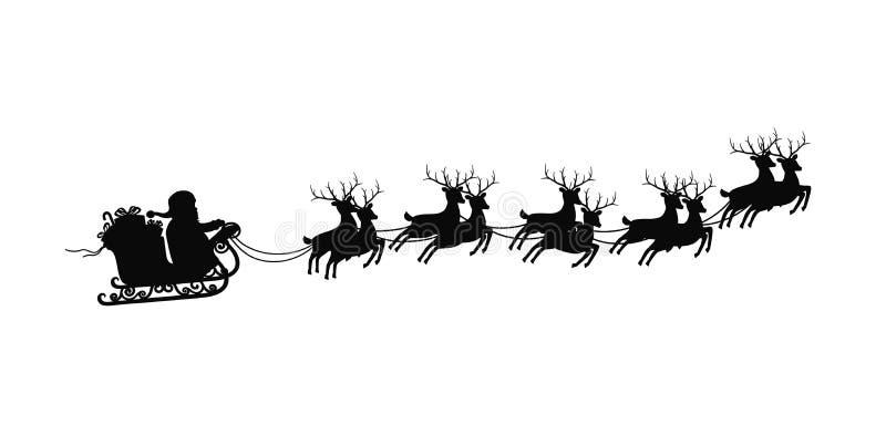 Άγιος Βασίλης στο έλκηθρο με τους ταράνδους επάνω στο άσπρο υπόβαθρο Καλή χρονιά και διακόσμηση Χαρούμενα Χριστούγεννας διανυσματική απεικόνιση