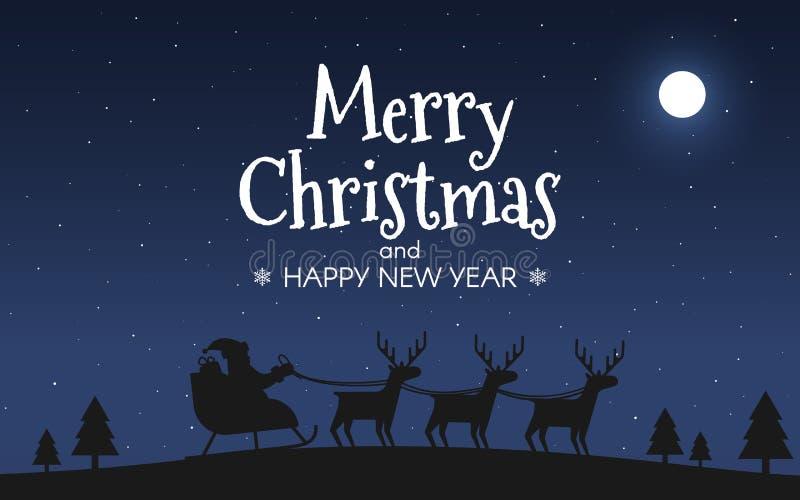 Άγιος Βασίλης στο έλκηθρο με τους ταράνδους Τοπίο νύχτας Χαρούμενα Χριστούγεννας Ουρανός και φεγγάρι Έννοια καλής χρονιάς για την απεικόνιση αποθεμάτων
