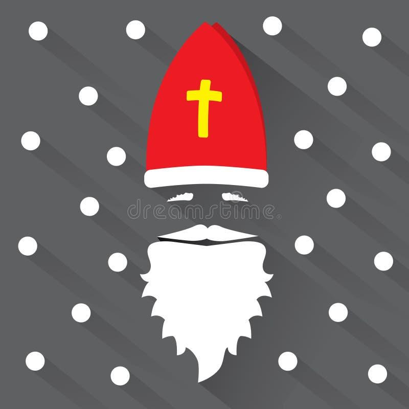 Άγιος Βασίλης στο μαύρο υπόβαθρο με τα σημεία ως snowflake και σκιά χαιρετισμός καλή χρονιά καρτών του 2007 Επίπεδη διανυσματική  στοκ εικόνες