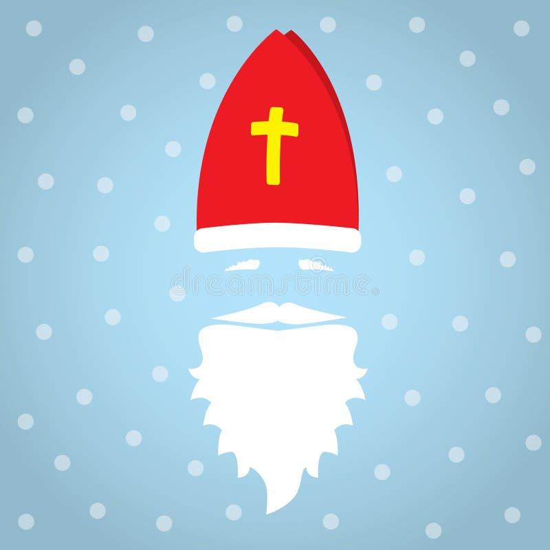Άγιος Βασίλης στο μπλε υπόβαθρο με τα σημεία ως snowflake και σκιά χαιρετισμός καλή χρονιά καρτών του 2007 Επίπεδη διανυσματική α στοκ εικόνες