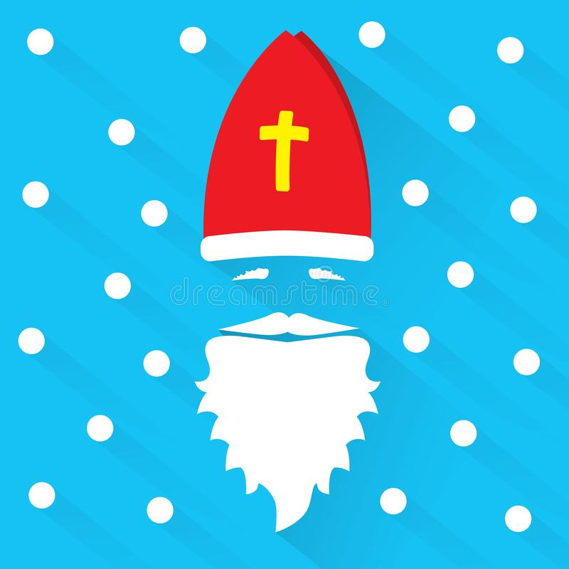 Άγιος Βασίλης στο μπλε υπόβαθρο με τα σημεία ως snowflake και σκιά χαιρετισμός καλή χρονιά καρτών του 2007 Επίπεδη διανυσματική α στοκ φωτογραφία