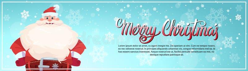 Άγιος Βασίλης στο οριζόντιο έμβλημα διακοπών ευχετήριων καρτών Χαρούμενα Χριστούγεννας με το διάστημα αντιγράφων διανυσματική απεικόνιση