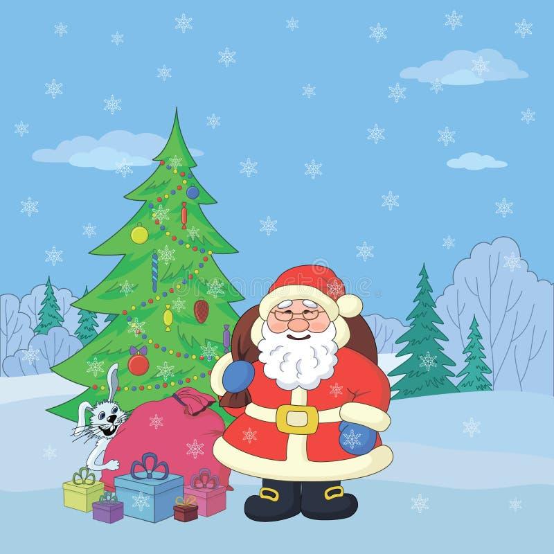Άγιος Βασίλης στο χειμερινό δάσος διανυσματική απεικόνιση