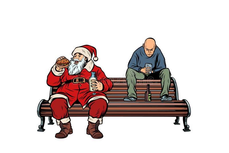 Άγιος Βασίλης τρώει Burger γρήγορου φαγητού, ποτά χούλιγκαν που πίνονται διανυσματική απεικόνιση