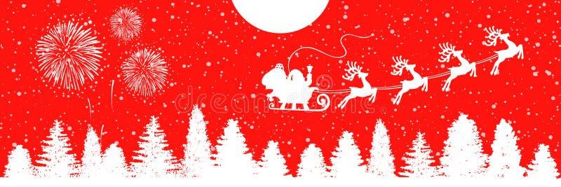Άγιος Βασίλης flyin στο έλκηθρο Χριστουγέννων στη νύχτα - διάνυσμα αποθεμάτων στοκ φωτογραφίες με δικαίωμα ελεύθερης χρήσης