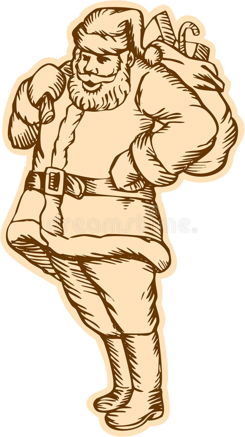 Άγιος Βασίλης Άγιος Βασίλης που στέκεται χαρακτική απεικόνιση αποθεμάτων