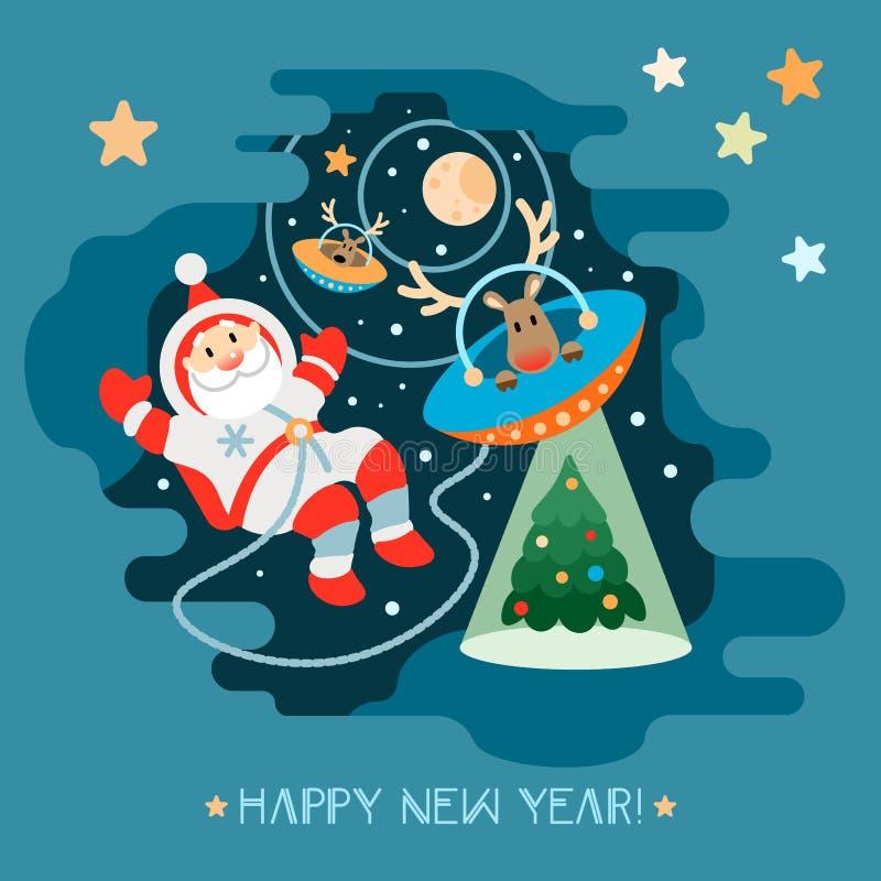 Άγιος Βασίλης και ο αλλοδαπός αστροναύτης ταράνδων του που πετούν σε ένα UFO απεικόνιση αποθεμάτων