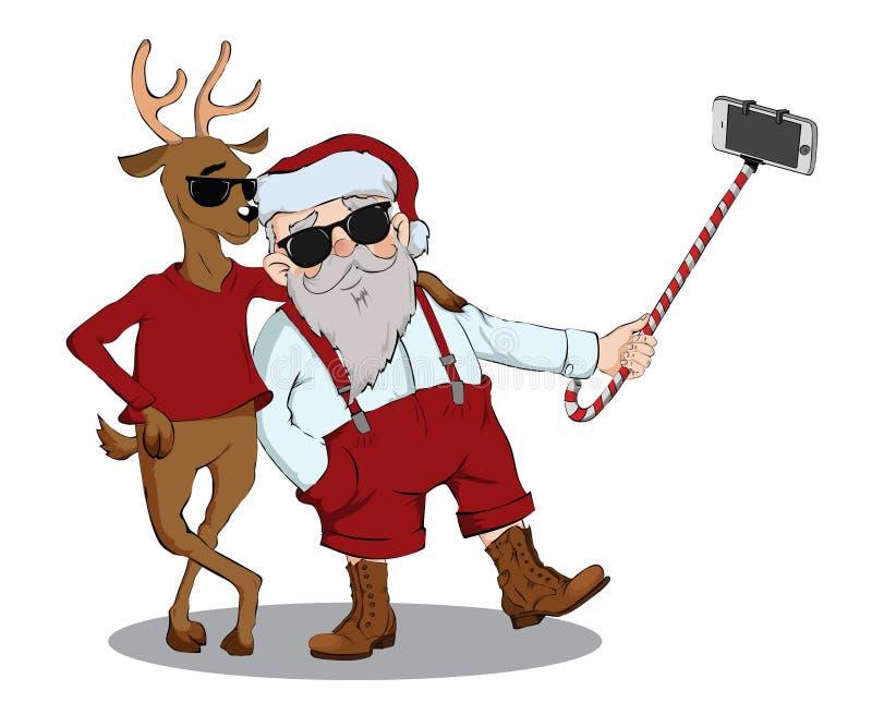 Άγιος Βασίλης και τα ελάφια κάνουν τη φωτογραφία διανυσματική απεικόνιση