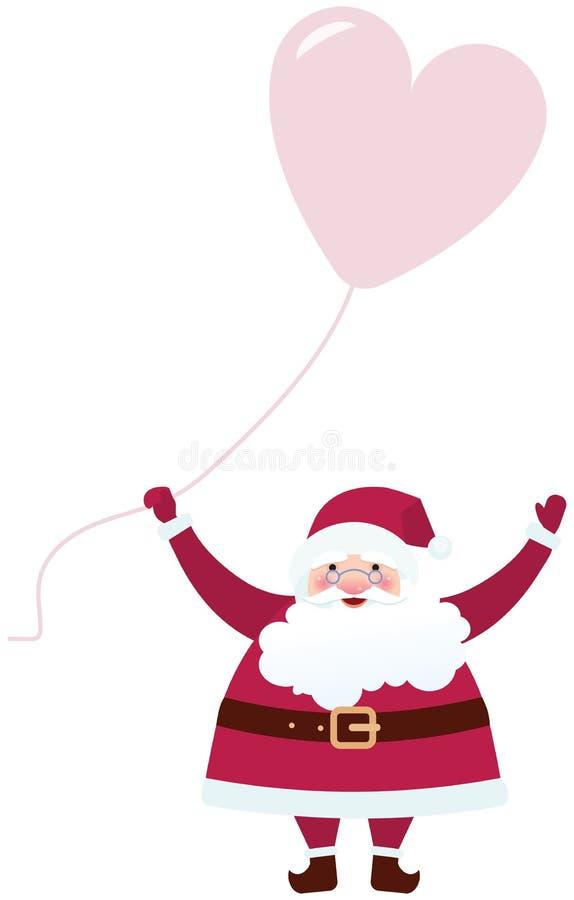 Άγιος Βασίλης με ένα μπαλόνι διανυσματική απεικόνιση