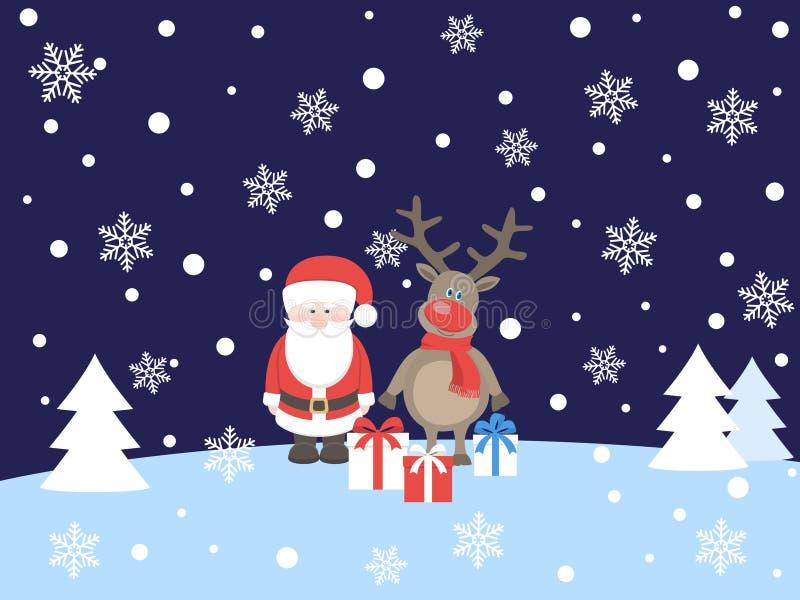 Άγιος Βασίλης με τα ελάφια ελεύθερη απεικόνιση δικαιώματος