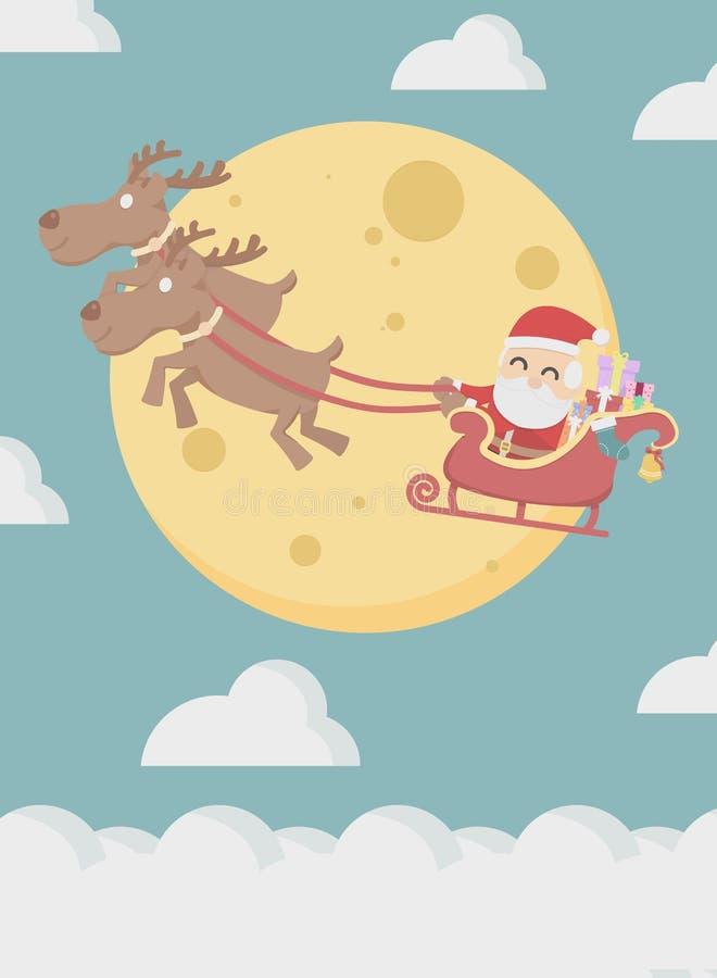 Άγιος Βασίλης με τη μύγα ταράνδων πέρα από το σύννεφο και το φεγγάρι ελεύθερη απεικόνιση δικαιώματος