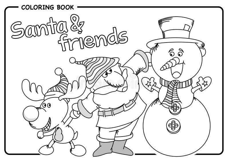 Άγιος Βασίλης με τον τάρανδο φίλων του και χιονάνθρωπος - ο χρωματισμός σύρει απεικόνιση αποθεμάτων