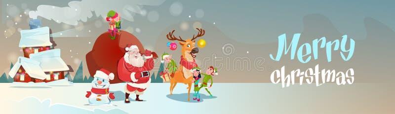 Άγιος Βασίλης με το σάκο δώρων Elfs ταράνδων που έρχεται να στεγάσει το έμβλημα Χαρούμενα Χριστούγεννας καλής χρονιάς απεικόνιση αποθεμάτων