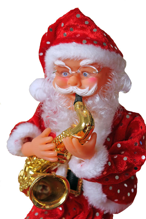Άγιος Βασίλης με το saxophone στοκ φωτογραφία με δικαίωμα ελεύθερης χρήσης